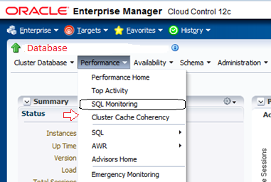 sql monitoring in oem 12c