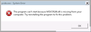 The program can't start because MSVCR100.dll is missing from your computer