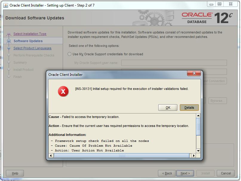 oracle 32bit client installation error