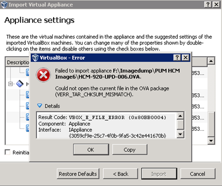 PeopleSoft Image Import Failed in Oracle Virtual Box