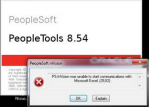 PS/nVision was unable to start communications with Microsoft Excel