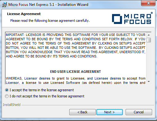 install micro focus net express 5.1 wp 11