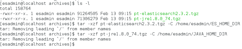 extract elasticsearch binary and jre package on linux