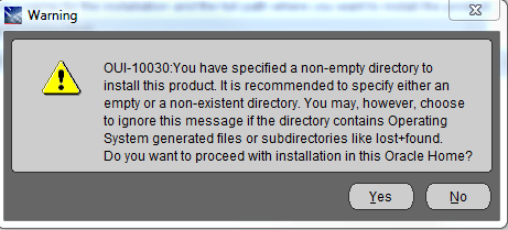 OUI-10030 You have specified a non-empty directory