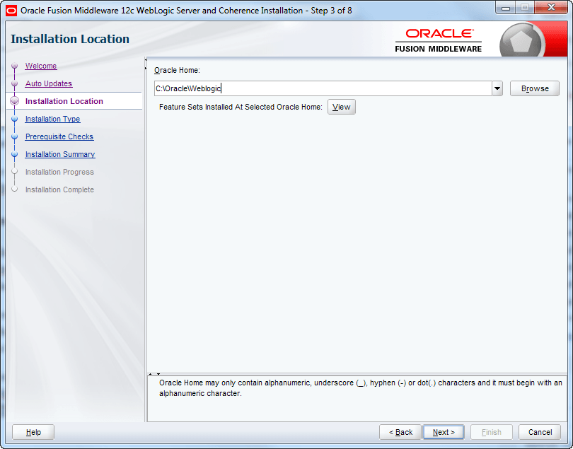 declare oracle weblogic home