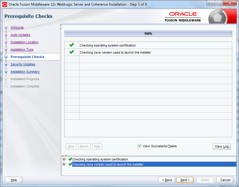 oracle weblogic installation pre-requisites check