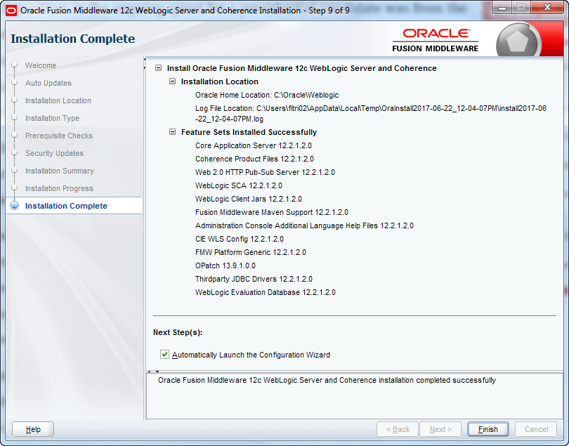 oracle weblogic installation success