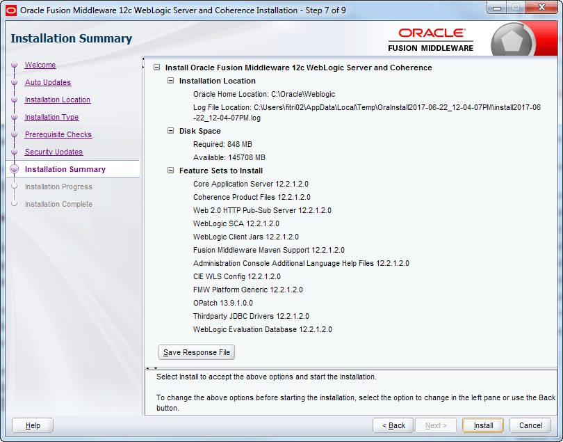 oracle weblogic installation summary