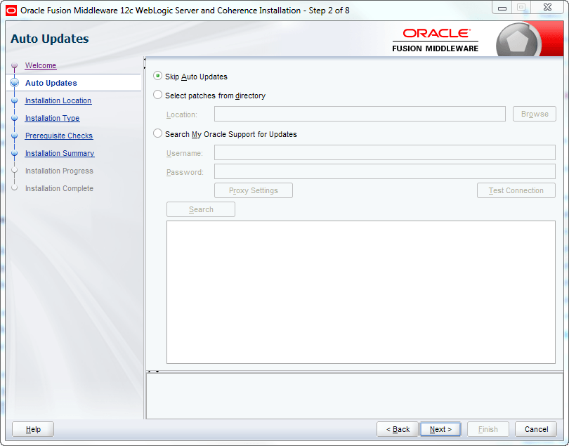 oracle weblogic skip auto updates