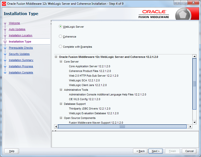 select oracle weblogic installation type