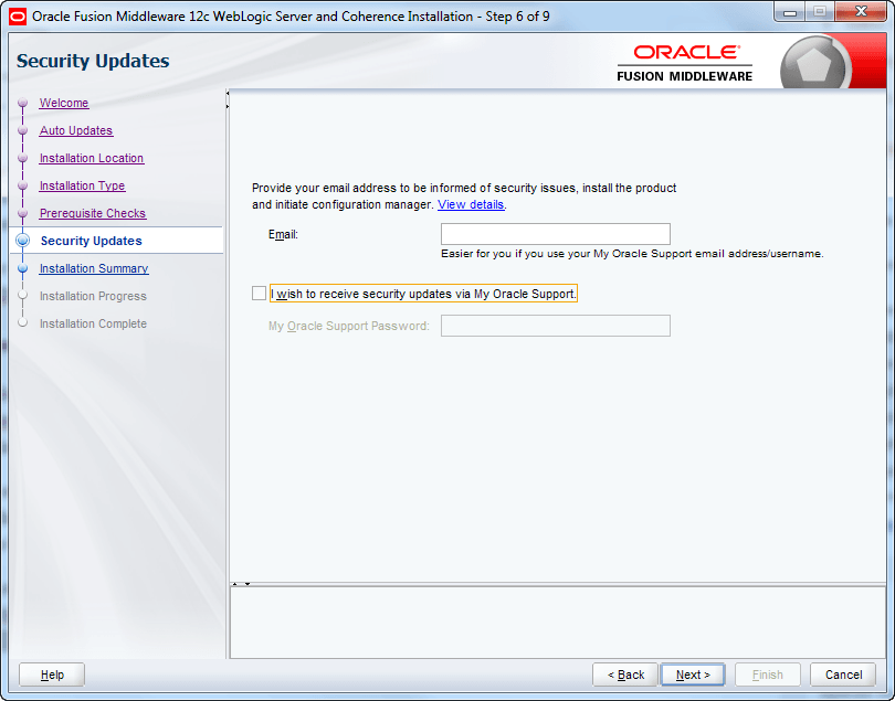 skip email address for oracle weblogic