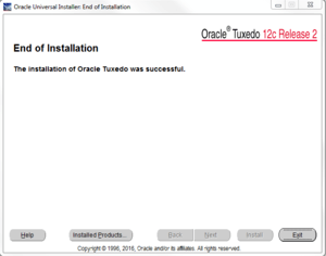successful install of oracle tuxedo