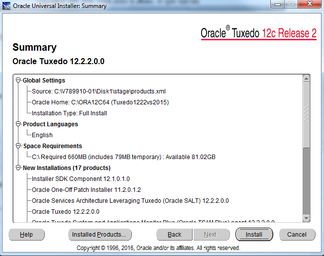 summary of oracle tuxedo install
