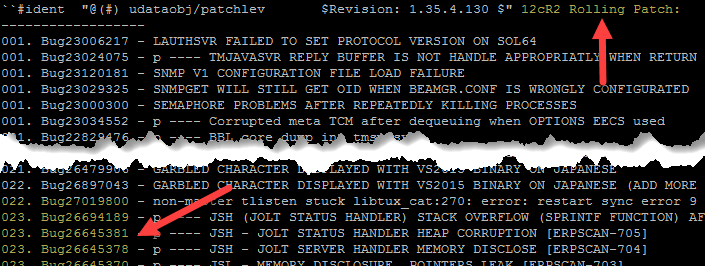 how to identify tuxedo rolling patch level