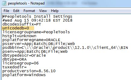 peopletools install is unicode or non-unicode