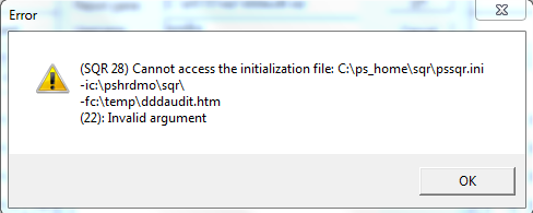 (SQR 28) Cannot access the initialization file