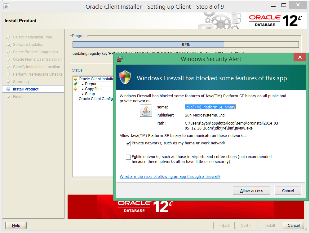 install oracle 12c 32 bit client on windows 8 9
