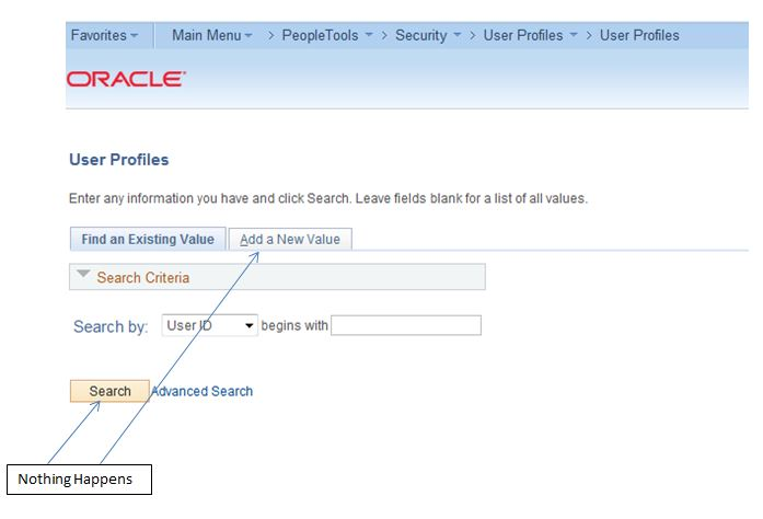 search or add a new value not working in peoplesoft
