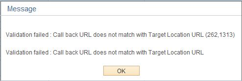 Validation failed Call back URL does not match with Target Location URL (262,1313)