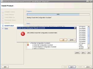 INS-20802 Oracle Net Configuration Assistant Failed