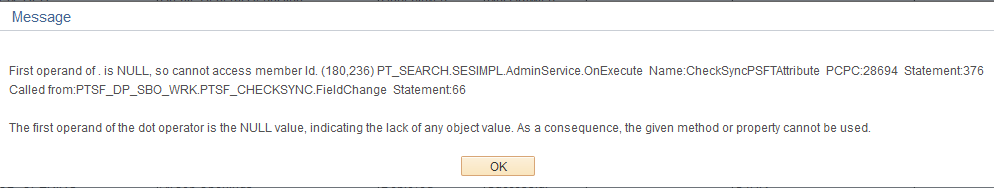 cannot access member Id. (180,236) PT_SEARCH.SESIMPL