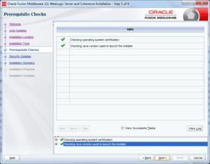 oracle weblogic installation pre-requisites check