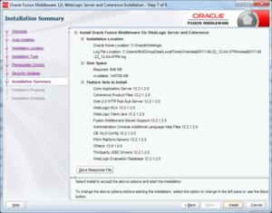 oracle weblogic installation summary