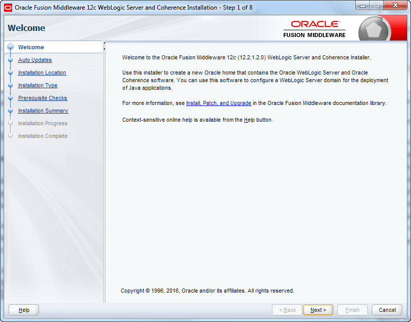 oracle weblogic installer start