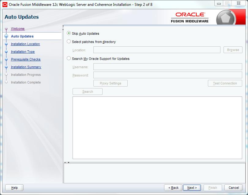 oracle weblogic skip auto updates