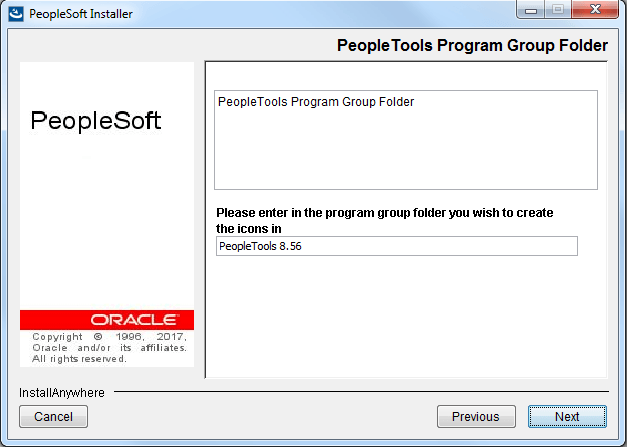 provide program group folder name for peopletools icons