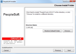 select install folder for peopletools 8.56