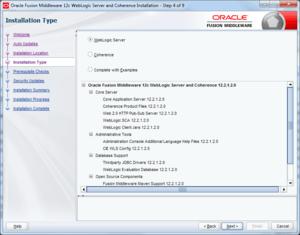 select oracle weblogic installation type