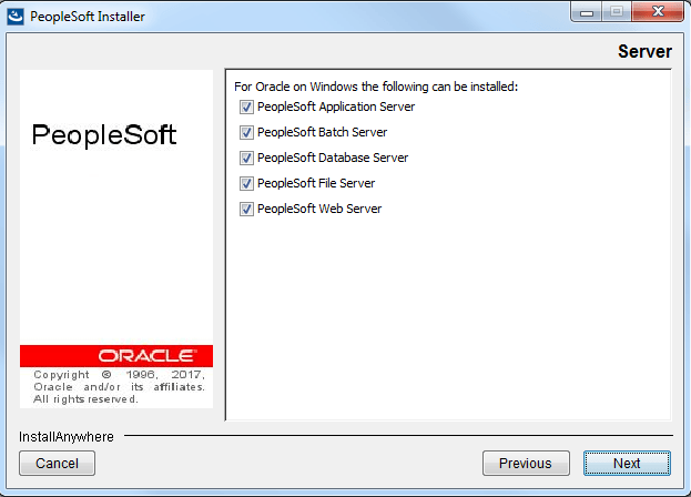 select peopletools components to be installed
