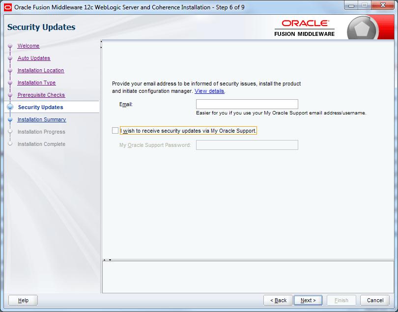 skip email address for oracle weblogic