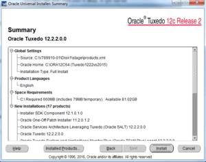 summary of oracle tuxedo install